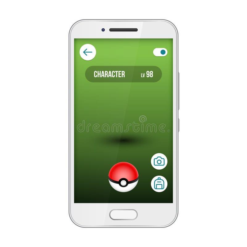Interfaccia di vettore dello smartphone del pokemon dello schermo di app del gioco Vada, trovi e prenda i mostri svegli royalty illustrazione gratis