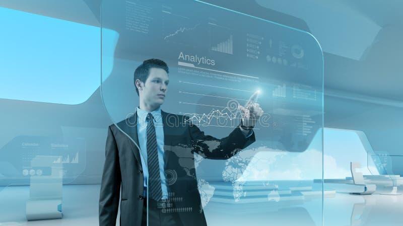 Interfaccia futura dello schermo attivabile al tatto di tecnologia del grafico della stampa dell'uomo d'affari immagini stock libere da diritti