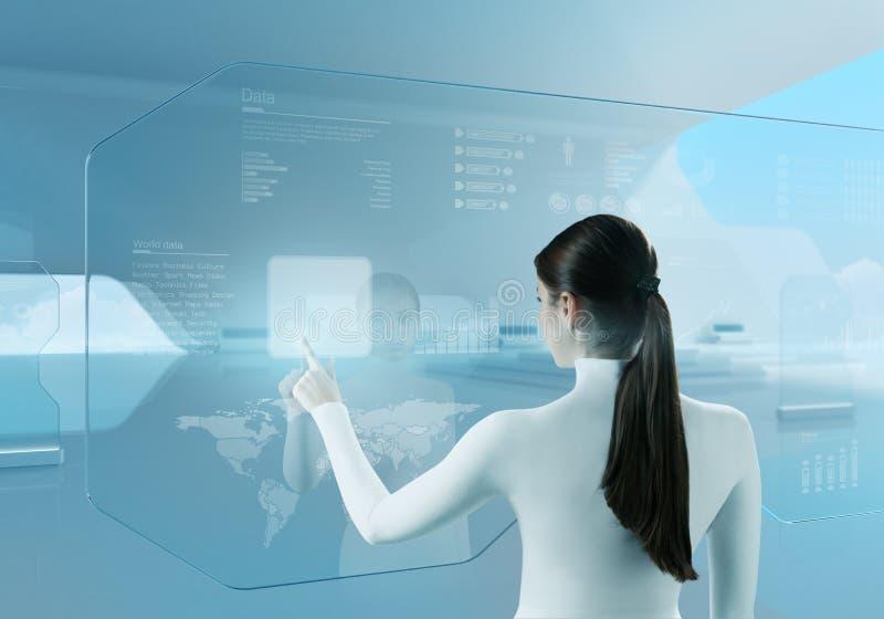 Tecnologia futura. Interfaccia dello schermo attivabile al tatto del pulsante della ragazza. immagine stock