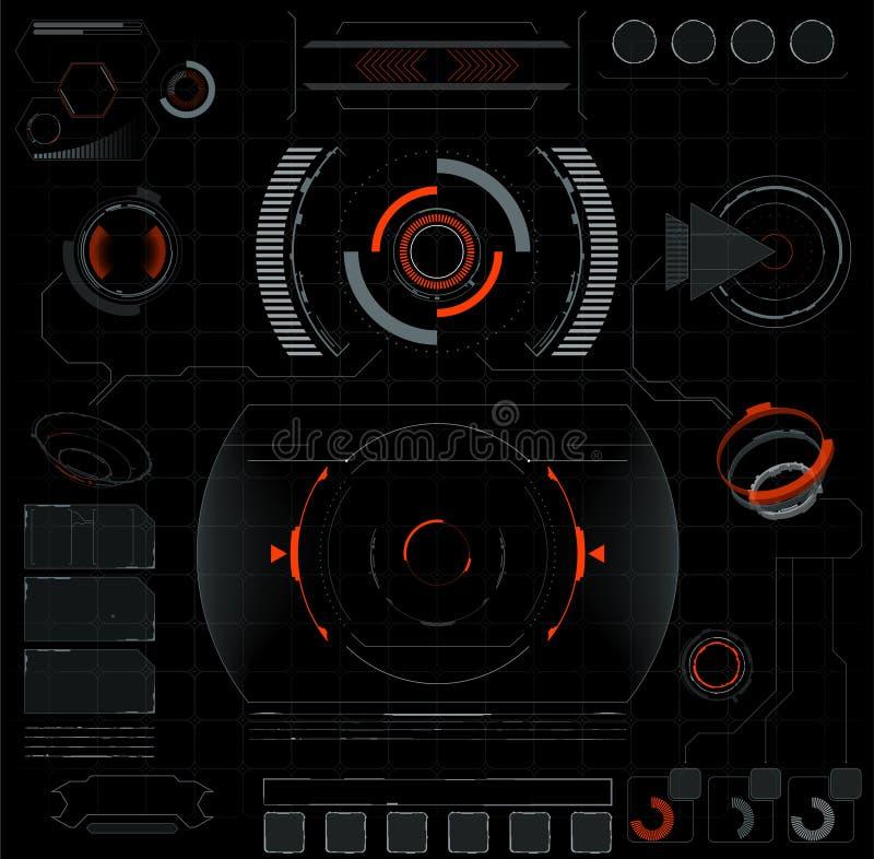 Interfaccia futura Elementi di Digital illustrazione vettoriale