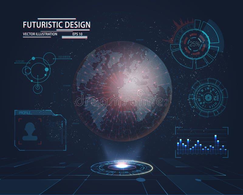 Interfaccia futuristica con l'ologramma del pianeta royalty illustrazione gratis