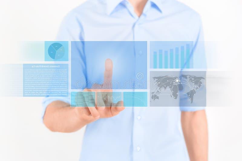 Interfaccia futuristica dello schermo attivabile al tatto fotografie stock libere da diritti