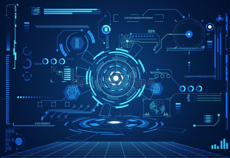 Interfaccia futuristica h di salute del hud di concetto di ui astratto di tecnologia illustrazione vettoriale