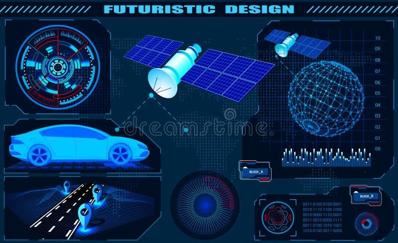 Interfaccia grafica futuristica, navigazione satellite di GPS dell'automobile, progettazione del hud, ologramma del globo Illustr royalty illustrazione gratis