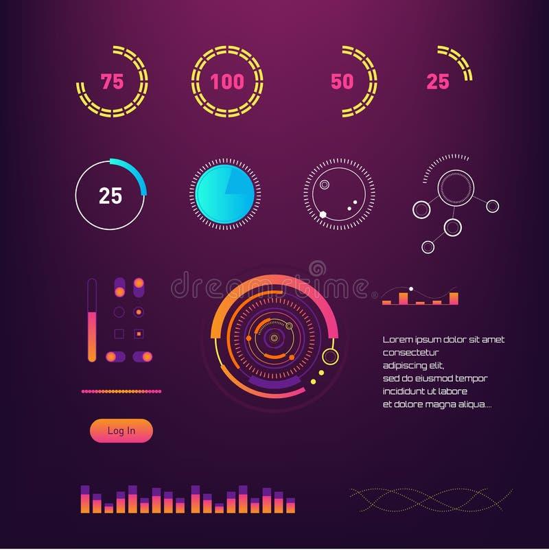 Interfaccia intelligente di vettore del hud di tecnologia Schermo di dati della gestione della rete con i grafici ed i diagrammi  illustrazione di stock