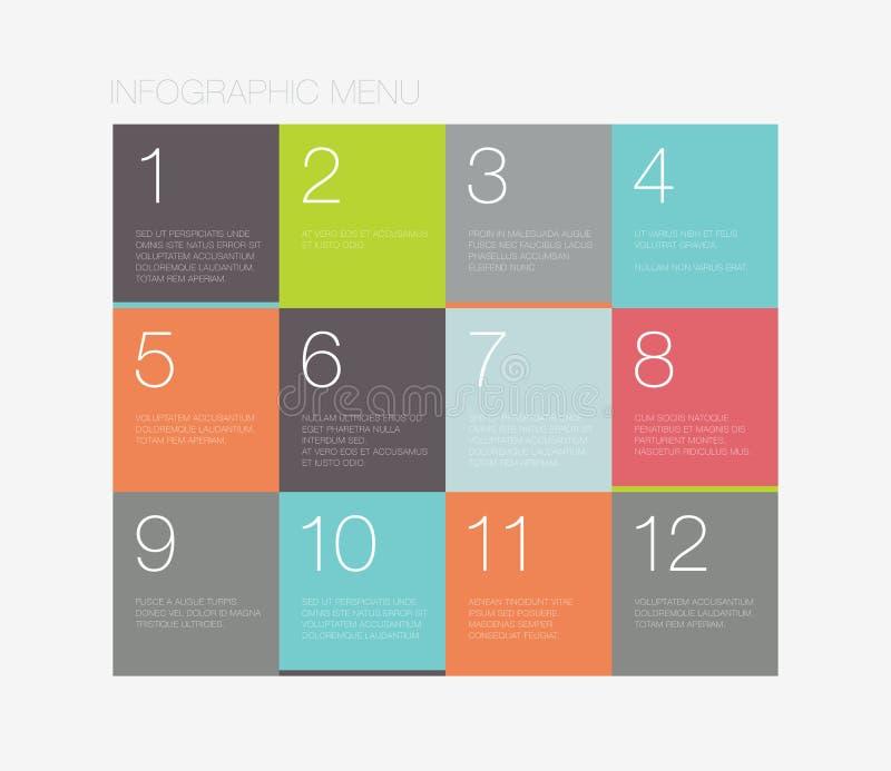 Interfaccia a menu infographic piana illustrazione di stock