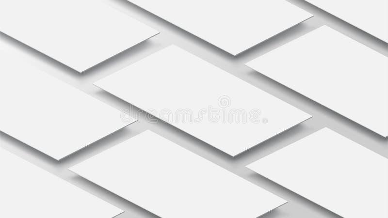 interfaccia mobile di app del modello 3D Schermo in bianco di app L'allungamento orizzontale di 9:16 nel tono bianco di colore ha illustrazione vettoriale