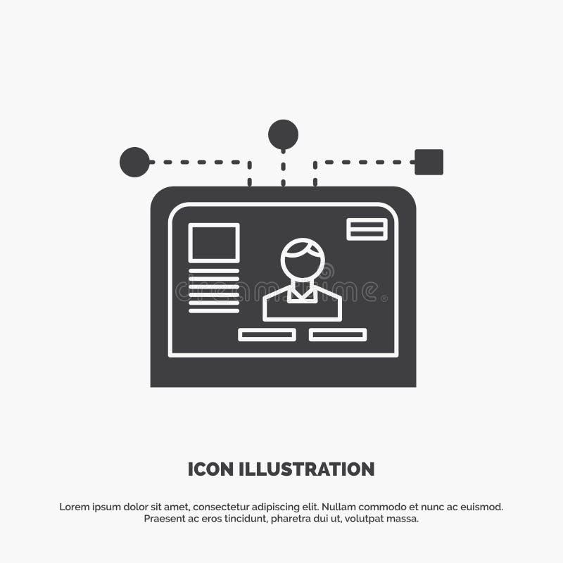 interfaccia, sito Web, utente, disposizione, icona di progettazione simbolo grigio di vettore di glifo per UI e UX, sito Web o ap royalty illustrazione gratis