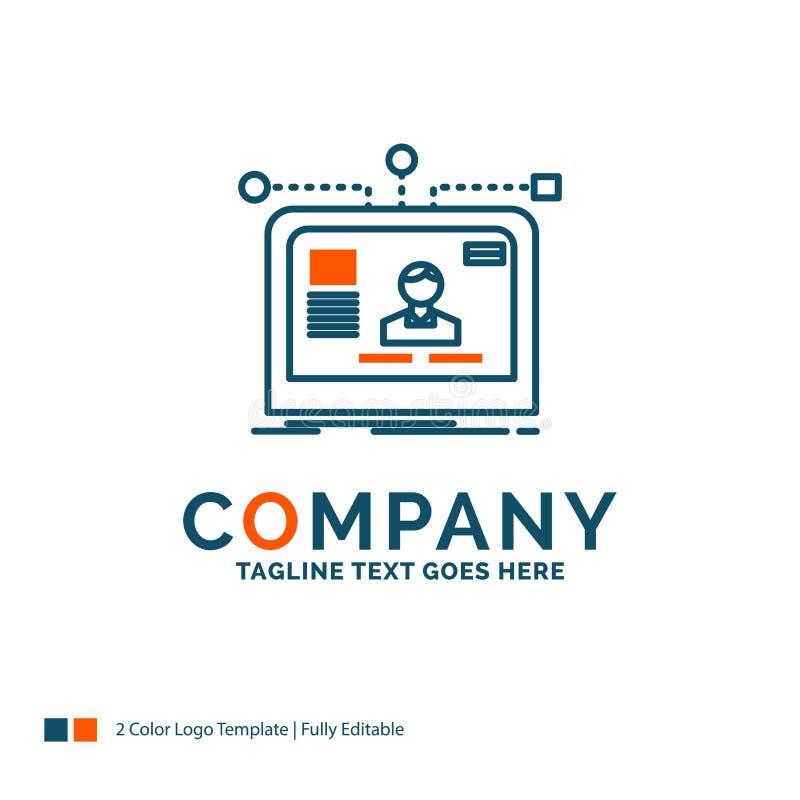 interfaccia, sito Web, utente, disposizione, progettazione Logo Design Blu ed O illustrazione di stock