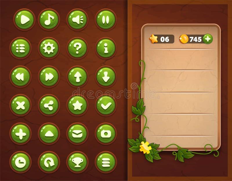 Interfaccia stabilita dei bottoni del gioco UI royalty illustrazione gratis