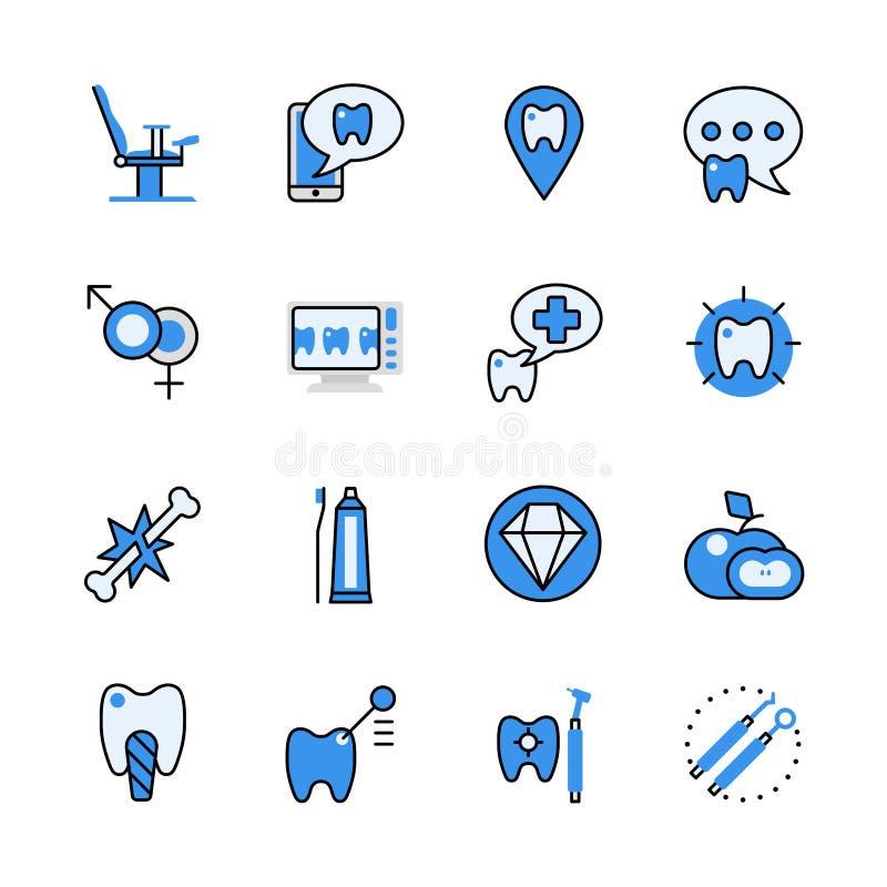 Interfaccia stabilita di app del dentista dello strumento del lineart dell'icona piana dentaria di vettore royalty illustrazione gratis