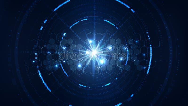 Interfaccia tecnologica di crittografia del Cyberspace del sistema futuro indietro royalty illustrazione gratis