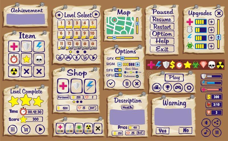 Interfaccia utente del gioco xx illustrazione di stock