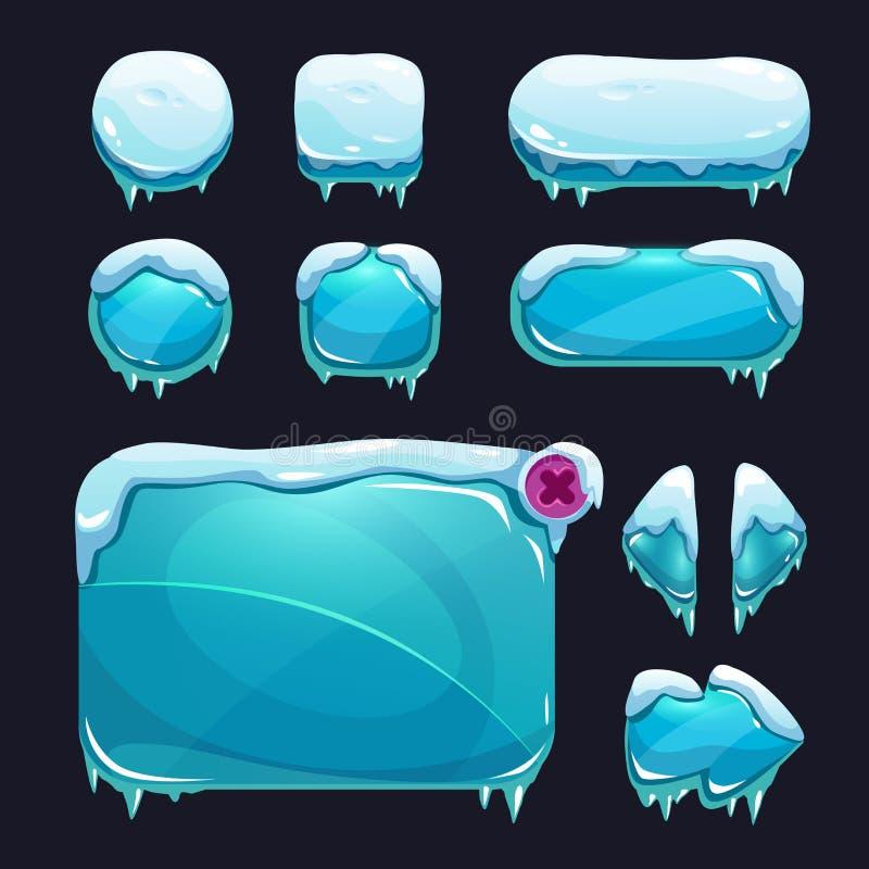 Interfaccia utente divertente del gioco di inverno del fumetto royalty illustrazione gratis