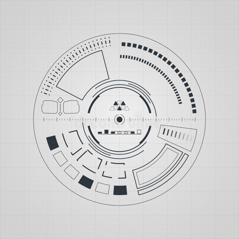 Interfaccia utente futuristica di Sci fi Digital HUD illustrazione vettoriale