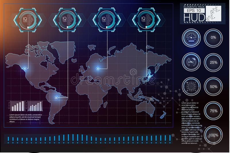 Interfaccia utente futuristica HUD UI Interfaccia utente grafica virtuale astratta di tocco Spazio cosmico del fondo di Hud illustrazione vettoriale