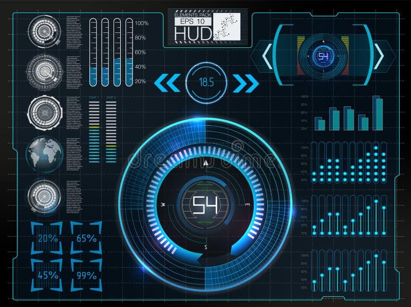 Interfaccia utente futuristica Spazio cosmico del fondo di Hud Elementi di Infographic Dati di Digital, fondo astratto di affari illustrazione di stock