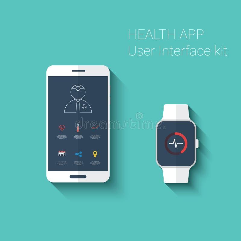 Interfaccia utente grafica di app di salute Forma fisica medica illustrazione vettoriale