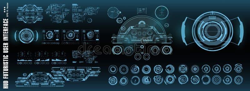 Interfaccia utente grafica virtuale futuristica di tocco di HUD, obiettivo Schermo di tecnologia di realtà virtuale dell'esposizi royalty illustrazione gratis