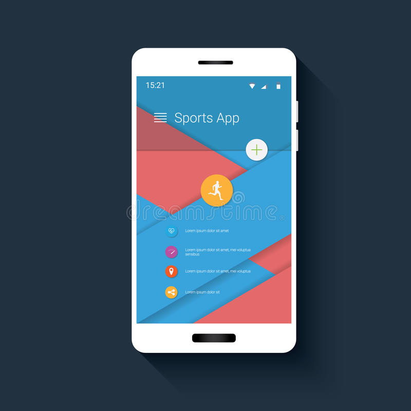 Interfaccia utente mobile dell'inseguitore di forma fisica con le icone per il monitor app di sport GUI di Smartphone su progetta royalty illustrazione gratis