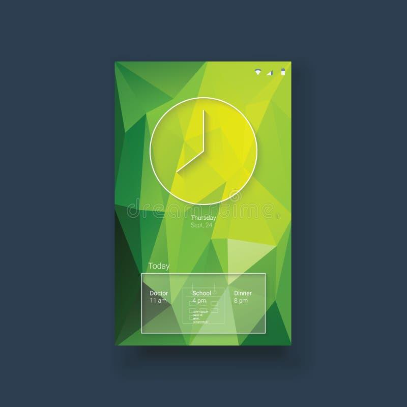 Interfaccia utente mobile di Smartphone app con l'orologio royalty illustrazione gratis