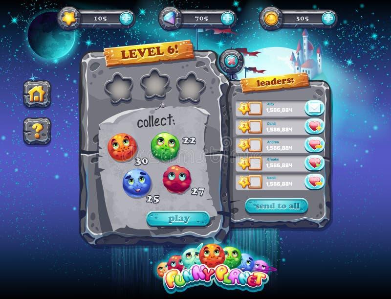 Interfaccia utente per i giochi di computer ed il web design con i bottoni, i premi, i livelli ed altri elementi Insieme 1 illustrazione di stock