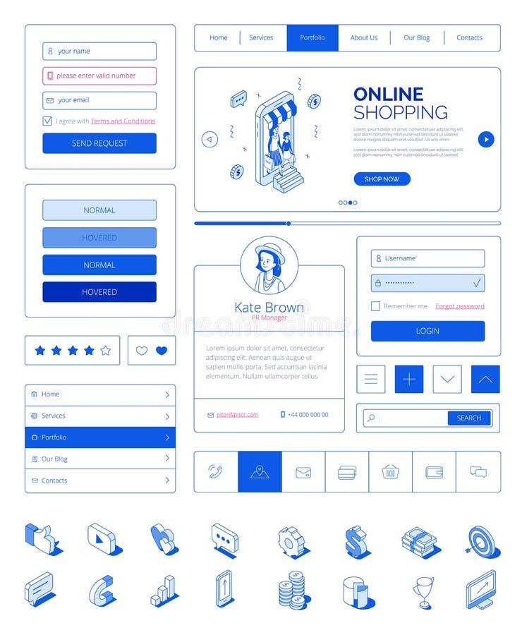 Interfaccia utente pronta per l'uso, corredo della disposizione di UI con i caratteri isometrici moderni della gente Sito Web ris royalty illustrazione gratis