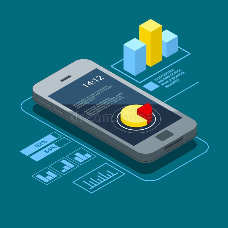 Interfaccia utente sullo smartphone Elementi di Infographic nello stile isometrico illustrazione vettoriale