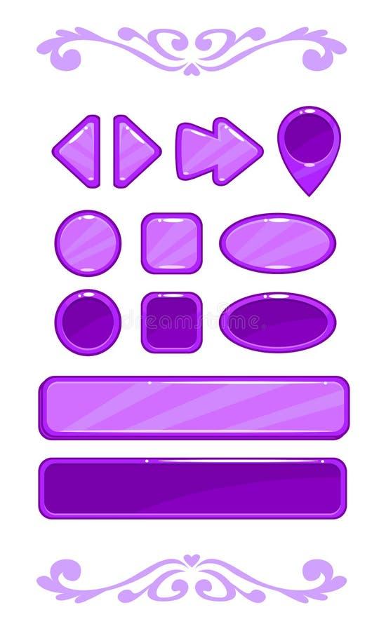 Interfaccia utente viola sveglia del gioco di vettore royalty illustrazione gratis