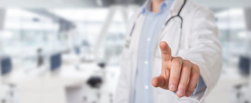 Interfaccia virtuale commovente di medico con il suo dito royalty illustrazione gratis