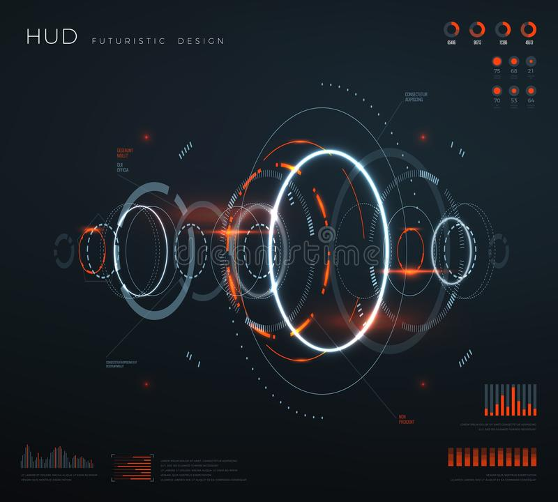 Interfaccia virtuale futuristica del hud Schermo digitale con i pannelli di controllo, grafico, diagrammi di tecnologia Futuro co royalty illustrazione gratis