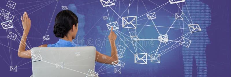 Interface émouvante de connexion de courrier de femme photos libres de droits