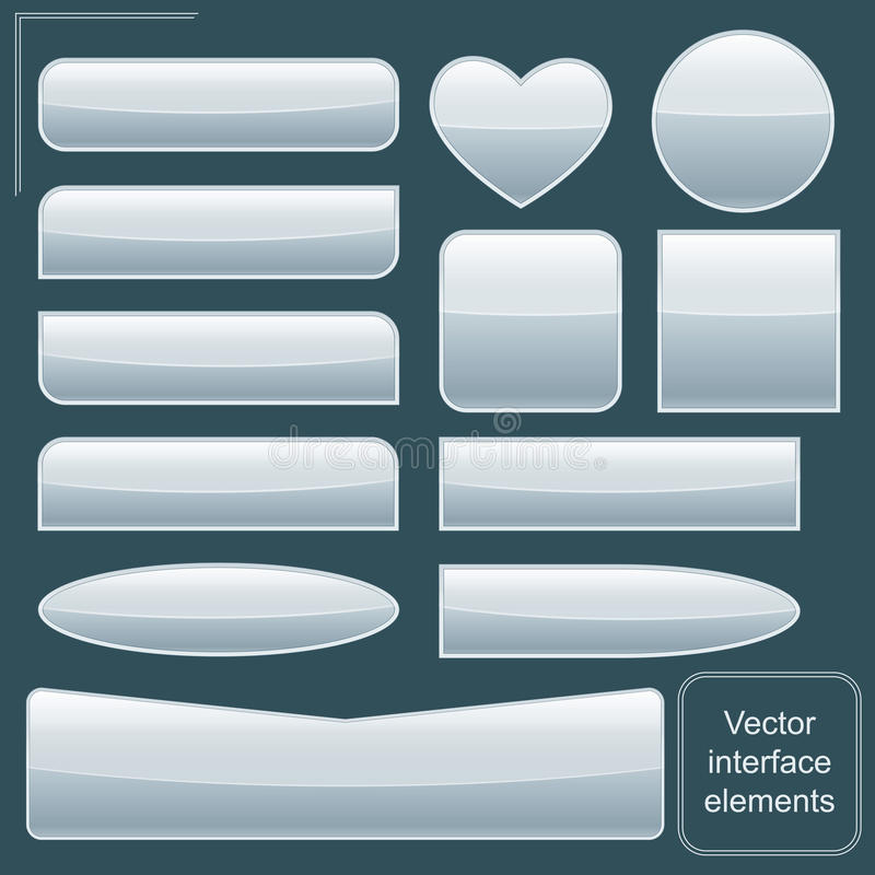 Interface. Metallic classical elements of interface design stock illustration
