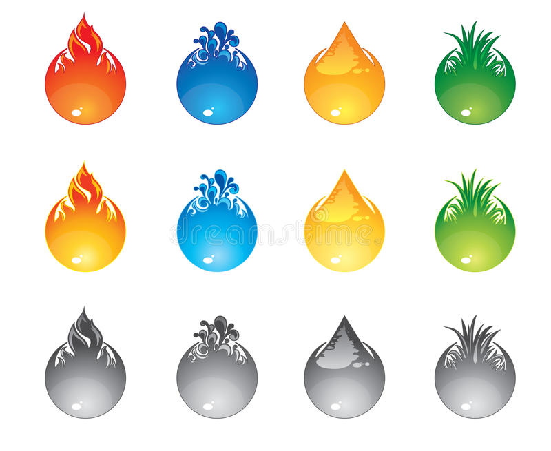 Interface buttons elements. Set of the buttons for an interface four elements, red fire, blue water, yellow sand, green grass. Icons in three states, normal vector illustration
