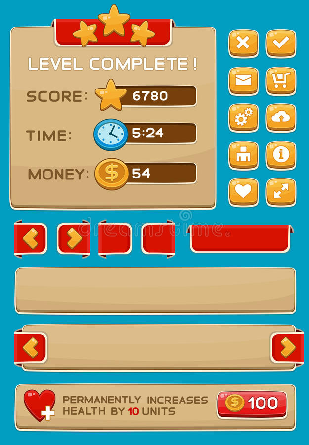 Interface buttons set for games or apps. Vector illustration. Easy to edit. Isolated on blue royalty free illustration