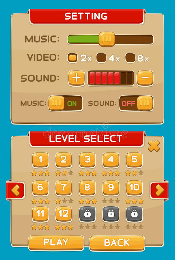 Interface buttons set for games or apps. Vector illustration. Easy to edit. Isolated on blue vector illustration