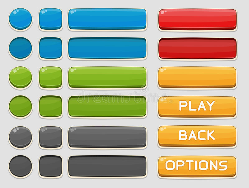 Interface buttons set for games or apps. Vector illustration. Isolated on white royalty free illustration