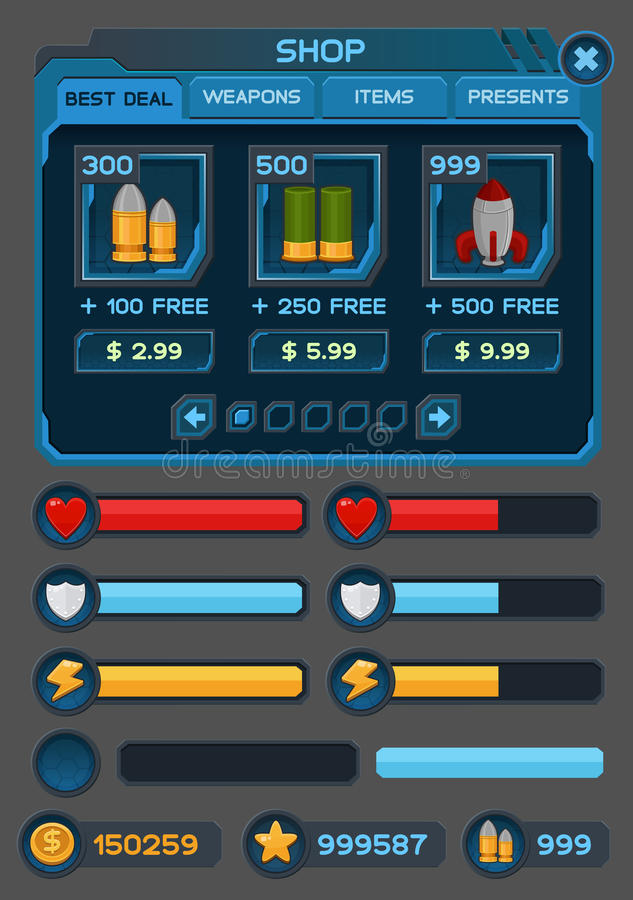 Interface buttons set for space games or apps. Vector illustration. Easy to edit. Isolated on gray stock illustration