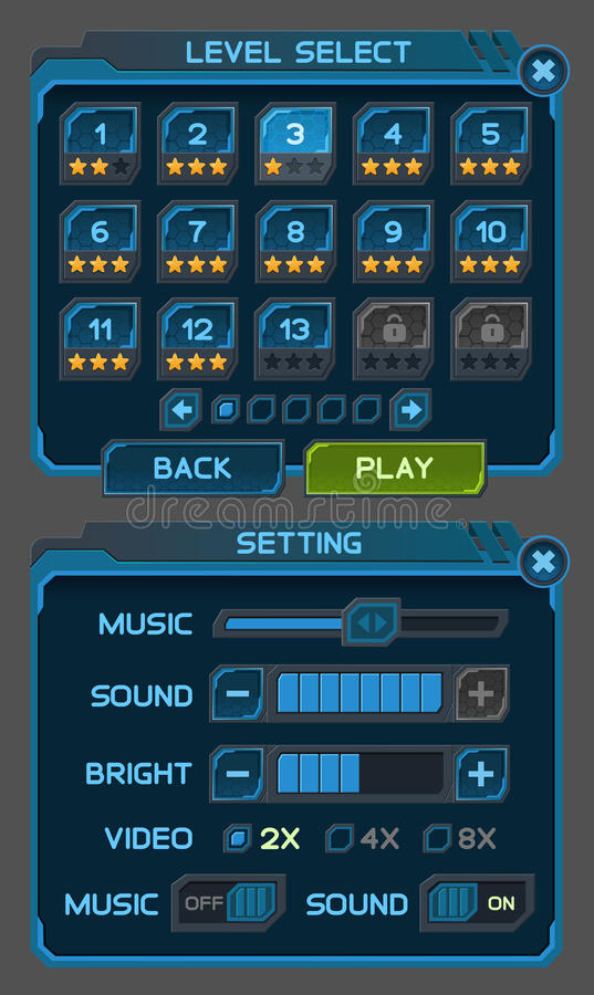 Interface buttons set for space games or apps. Vector illustration. Easy to edit. Isolated on gray royalty free illustration
