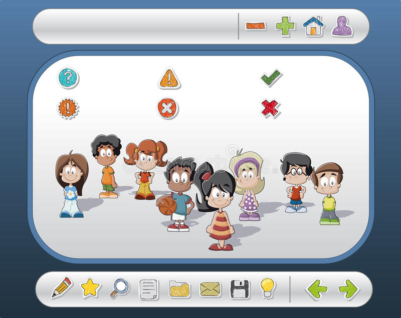 Interface with children and icons. Template/ interface with children and Website icons vector illustration