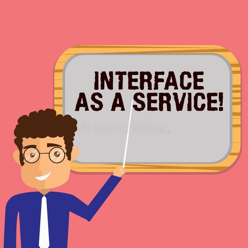 Interface conceptuelle d'apparence d'écriture de main comme service Homme de présentation de soutien d'aide de technologies de l' illustration libre de droits