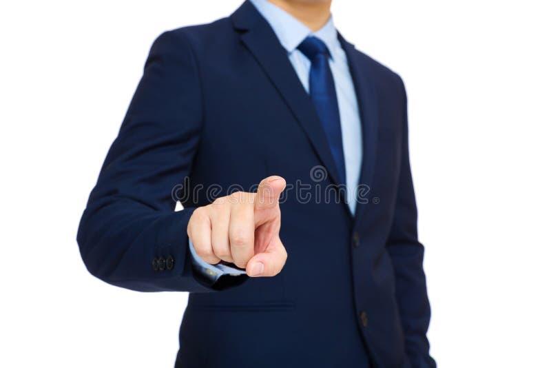 Interface d'écran tactile d'homme d'affaires photos libres de droits