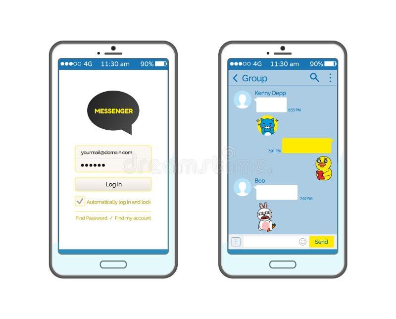 Interface d'entretien de Kakao sur l'ensemble de Smartphone d'icônes illustration libre de droits