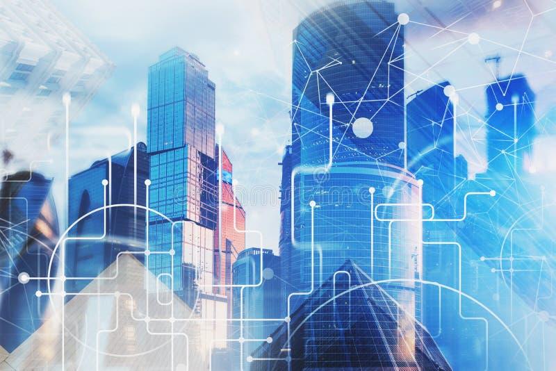 Interface de Digital au-dessus de fond de paysage urbain illustration stock