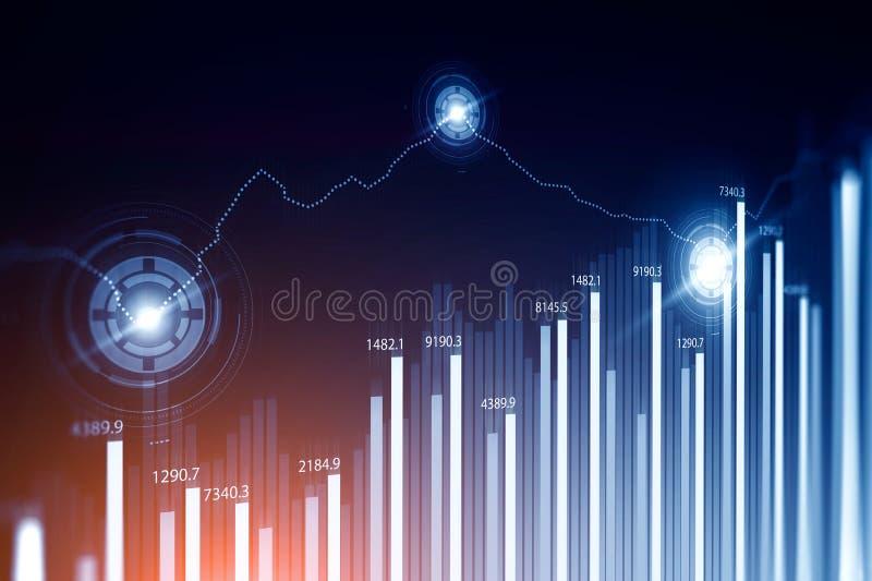 Interface de HUD de graphiques de Digital et d'histogrammes modifiée la tonalité illustration libre de droits