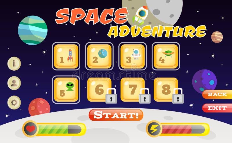 Interface de jeu de Scifi illustration stock