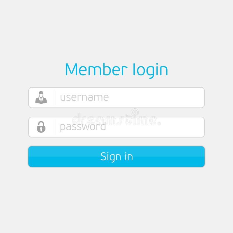 Interface de login de vecteur illustration libre de droits
