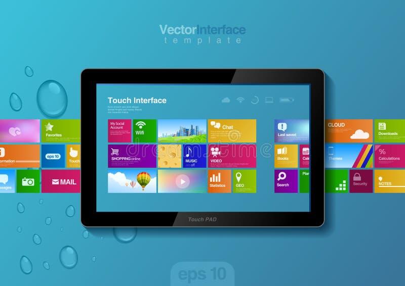 Interface de PC de comprimé. Calibre de conception de site Web. illustration de vecteur