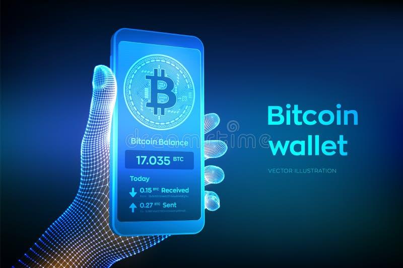 Interface de portefeuille de Bitcoin sur l'?cran de smartphone Les paiements de Cryptocurrency et la technologie de blockchain on illustration de vecteur