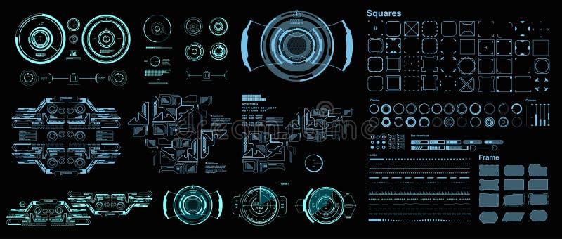 Interface de usu?rio gr?fica virtual futurista do toque de HUD, alvo HUD Dashboard Display ilustração royalty free